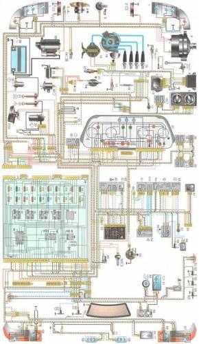 Электросхема ВАЗ 21102: Общая схема электрооборудования.